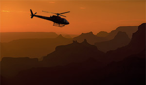 Helicopter tour over the Grand Canyon in sunset
