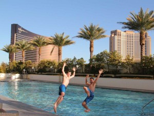 Jumping into the pool at Trump in Las Vegas