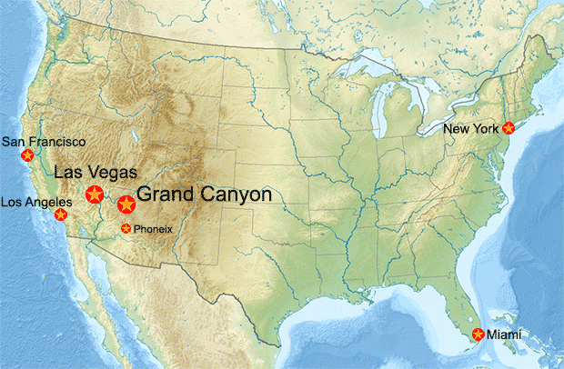 USA map with Grand Canyon and Las Vegas