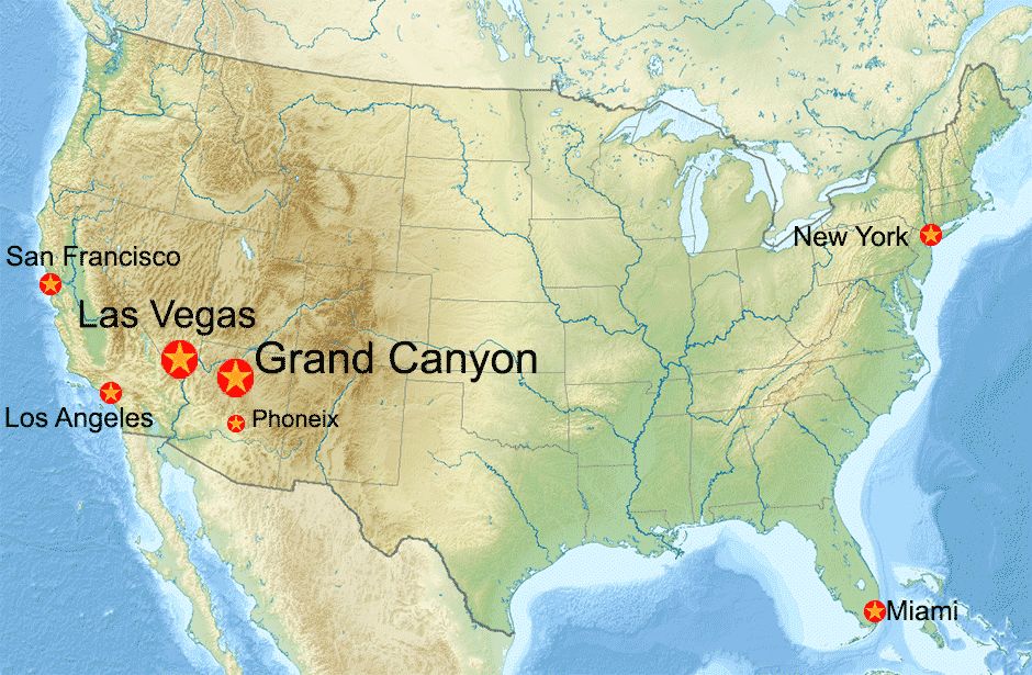 USA Map With Grand Canyon - Las vegas grand canyon map